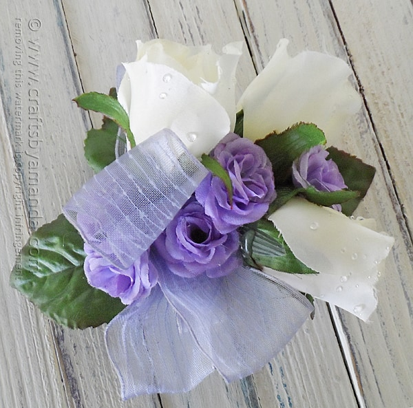 A pretty corsage for prom, easy to make yourself with silks!