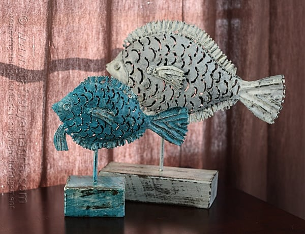 Garage Sale Metal Fish Makeover by @amandaformaro Crafts by Amanda