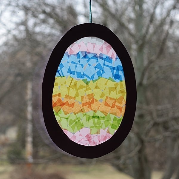 Easter egg suncatcher hanging in window