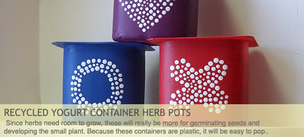 Recycled Yogurt Container Herb Pots