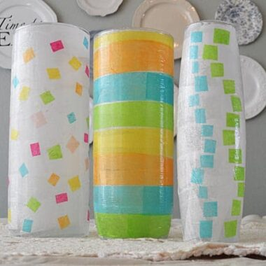 These pretty vases are a great springtime decoupage craft for adults and kids alike!