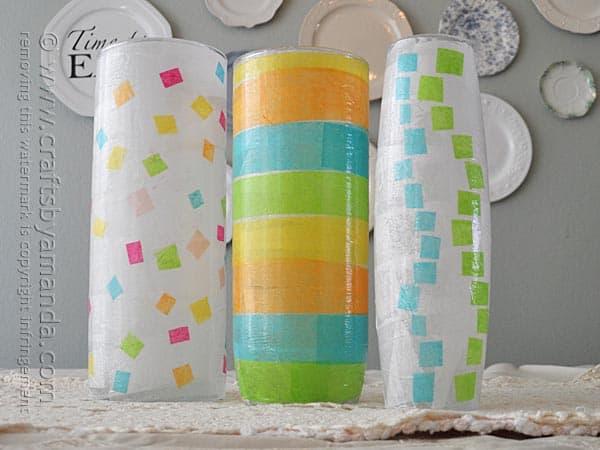 Decoupage Craft Geometrical Spring Vases