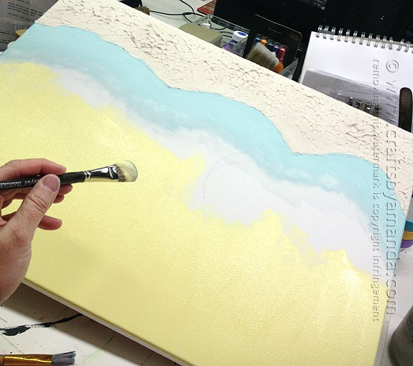 Paint the background, including sky, water and sea floor.