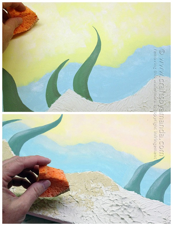 Paint on the seaweed and paint the textured sea floor.