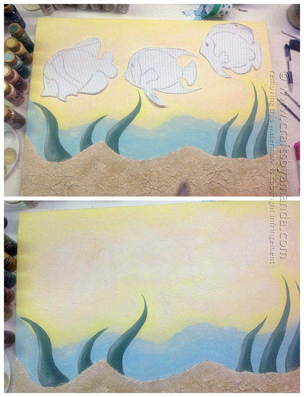 use the fish patterns and transfer them to the canvas