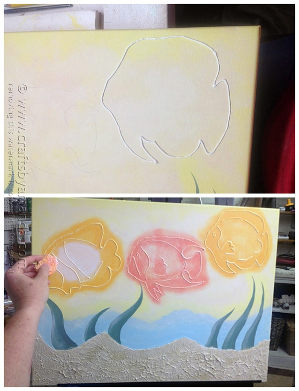 Use the Americana Writer to draw the fish then paint with a sponge