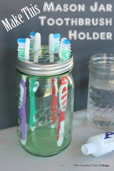 Mason Jar Toothbrush Holder - Country Chic Cottage