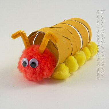 What a cute Coiled Cardboard Tube Caterpillar for the kids to make!