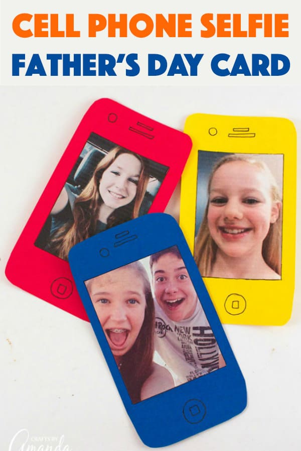 Kids of all ages are carrying cell phones these days and they are the kings and queens of #selfies! Make a card shaped like a phone for a fun cell phone selfie!