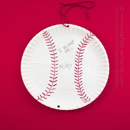 Paper Plate Autographed Baseball Card for Dad by @amandaformaro Crafts by Amanda