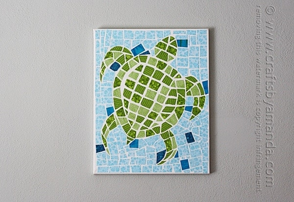 Mosaic Turtle Using Fabric and Canvas by Amanda Formaro of Crafts by Amanda