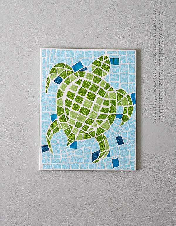 Mosaic Turtle on Canvas