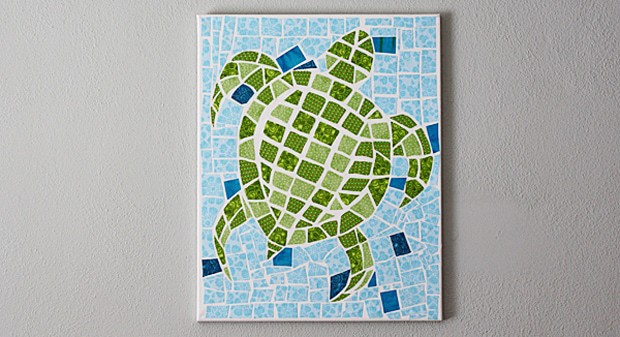 Mosaic Turtle Using Fabric and Canvas