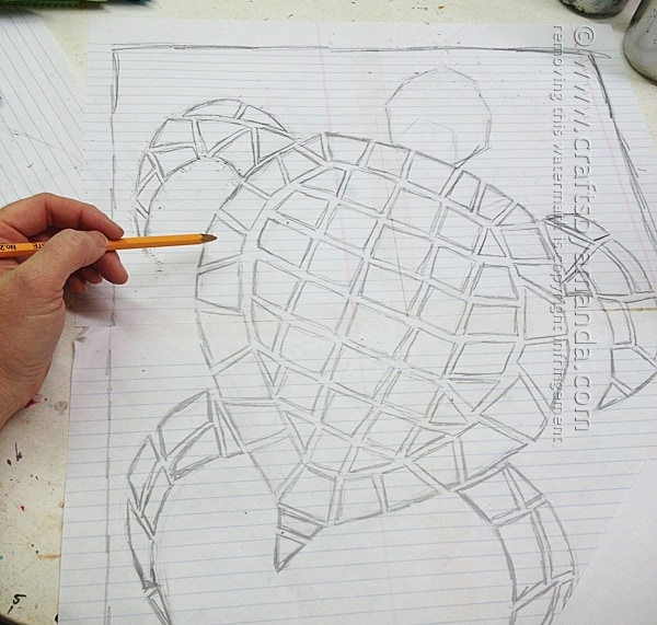 First I drew out the pattern for my mosaic turtle