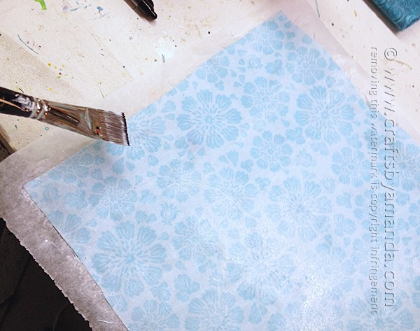 Paint the fabric you will use on your mosaic turtle with decoupage
