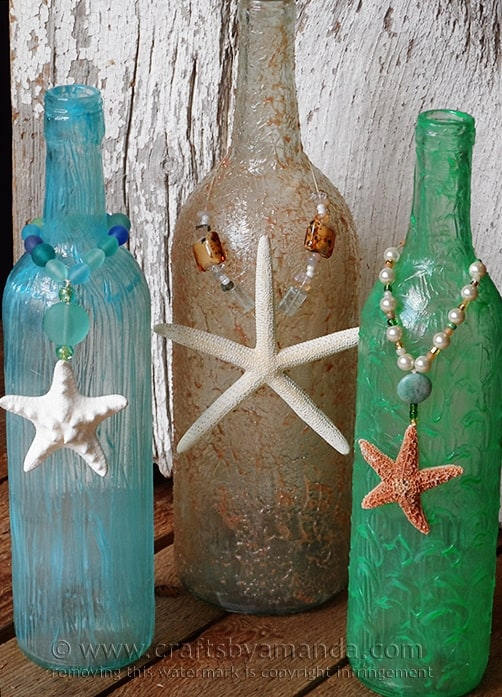 Wine Bottle Crafts Part - 48: Wine Bottle Craft: Textured Beach Vase By @amandaformaro Crafts By Amanda