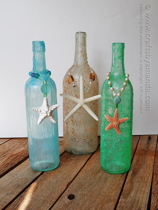 Wine Bottle Craft: Textured Beach Vase by @amandaformaro Crafts by Amanda
