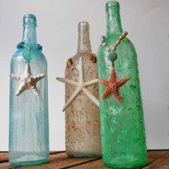 Wine Bottle Craft: Textured Beach Vase by @amandaformaro Crafts by Amanda