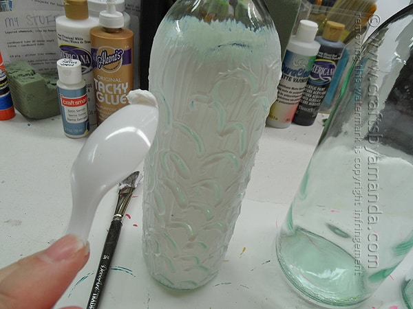 Use whatever you like to make designs in the Texture Glass in the wine bottle
