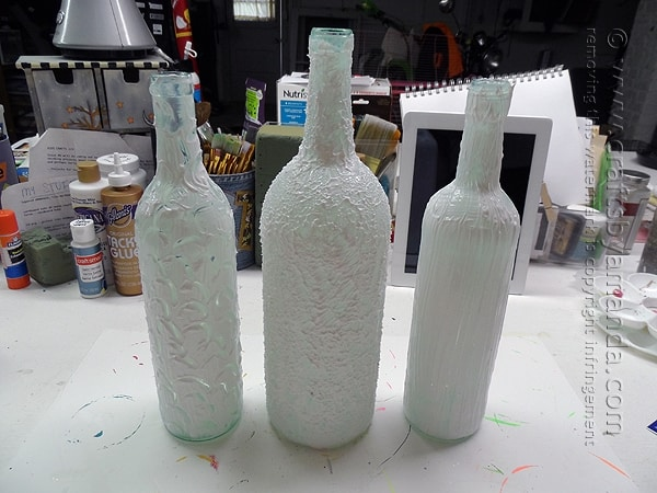 The wine bottles with the Texture Glass aplied will need time to dry