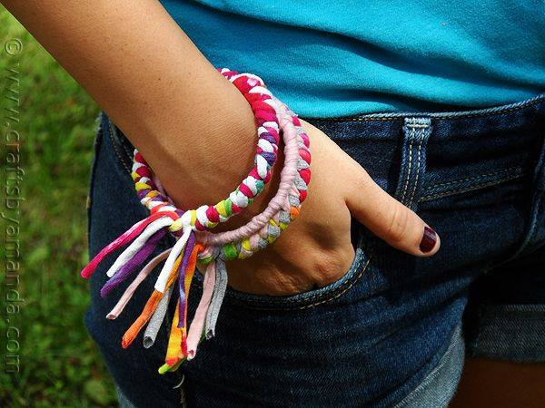 Make Bracelets from Recycled T-shirts - Crafts by Amanda