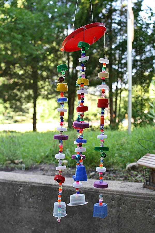 wind chime made from plastic lids