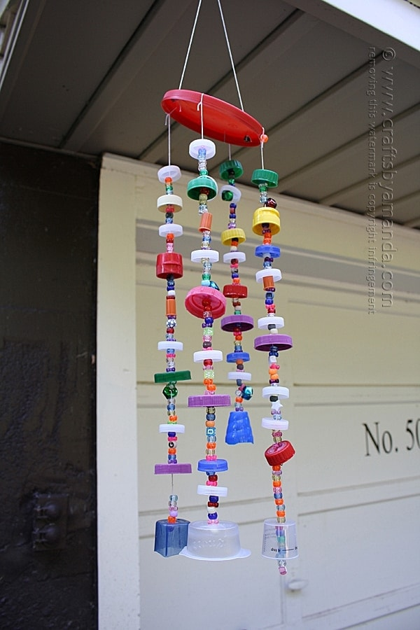 wind chime made out of recycled plastic lids