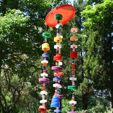 wind chime made from recycled plastic lids