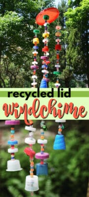 recycled plastic lid wind chime pin image