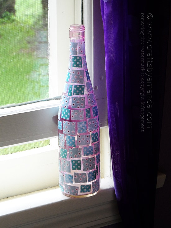 Mosaic Wine Bottle craft from Amanda Formaro of Crafts by Amanda