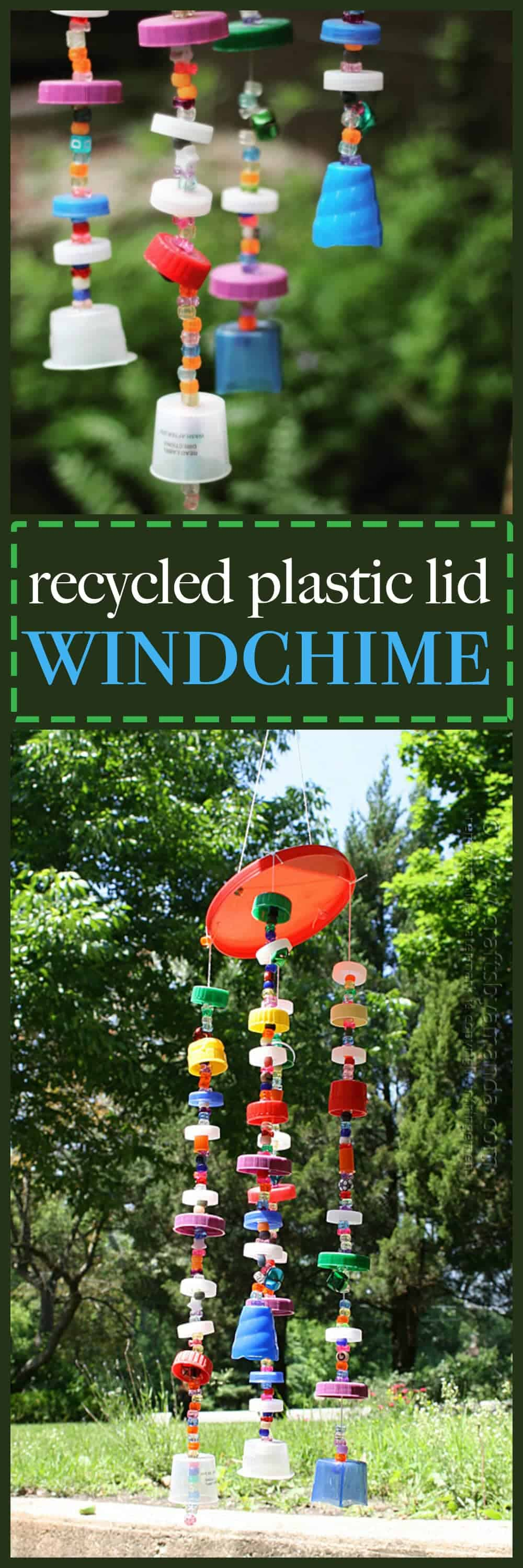 Make a fun windchime out of plastic lids instead of throwing them away!