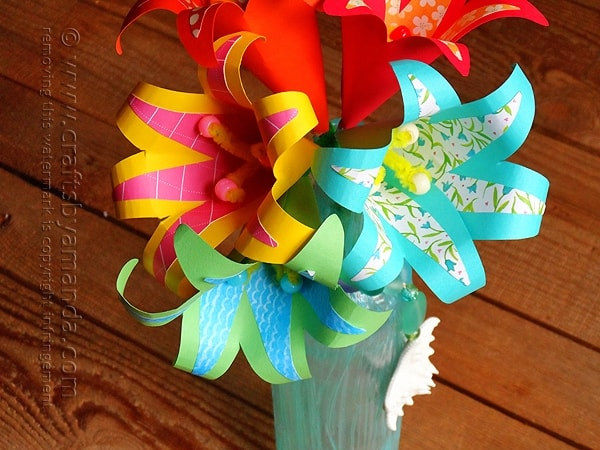 How to make a vase full of gorgeous tropical paper flowers! By Amanda Formaro - Crafts by Amanda