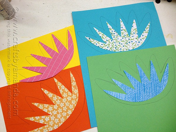 use the smaller pattern on the patterned scrapbook paper and the larger pattern on solid card stock