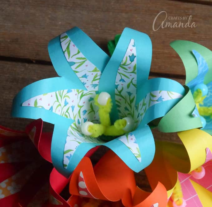 blue and white paper flower