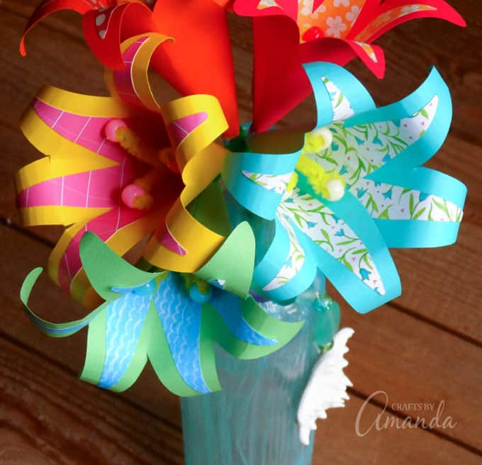 tropical paper flowers in a vase