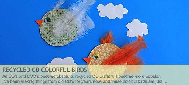 Recycled CD Crafts: Colorful Birds