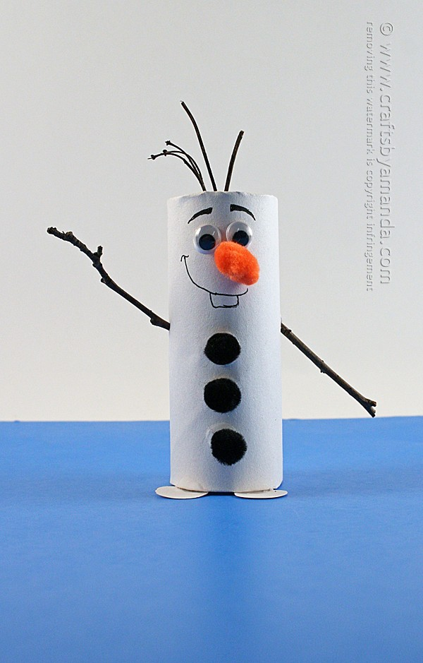 Cardboard tube olaf craft from frozen crafts by amanda - Bonhomme de neige avec rouleau papier toilette ...