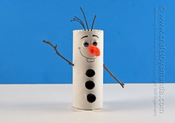 Make this Olaf craft with your child today! All you need is a few supplies to make this cute cardboard tube recyclable craft!