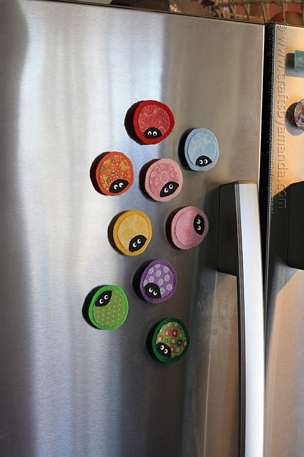ladybug magnets on fridge