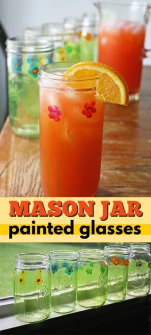 mason jar painted glasses pin image