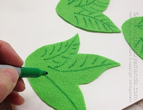 Adding leaf pattern to cut felt