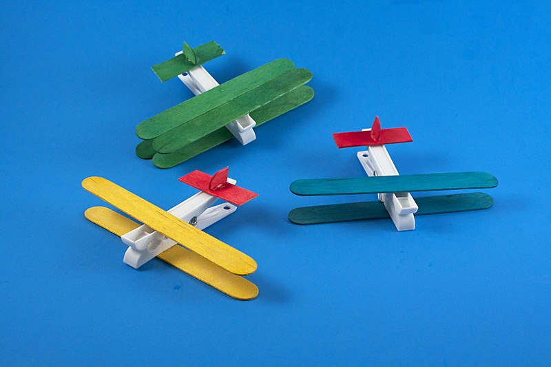 Clothespin Airplanes Preschoolers on Paper Plate Winter Animal Crafts