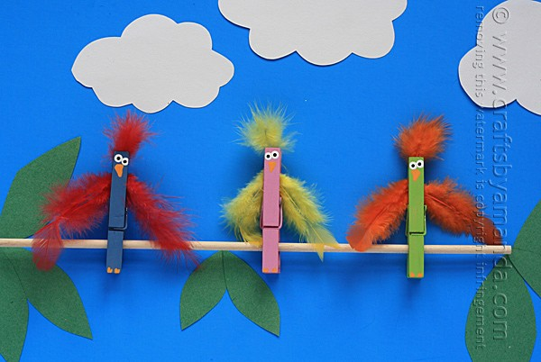 Clothespin Crafts: Birds on a Branch