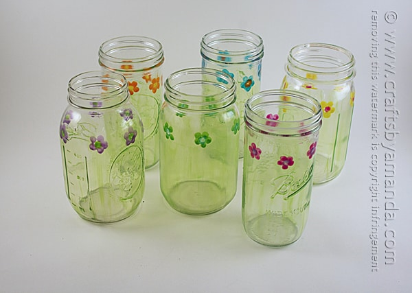painted mason jar drinking glasses with flowers