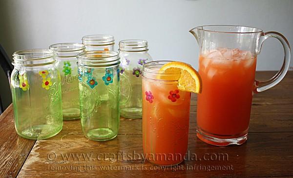mason jar drinking glasses painted