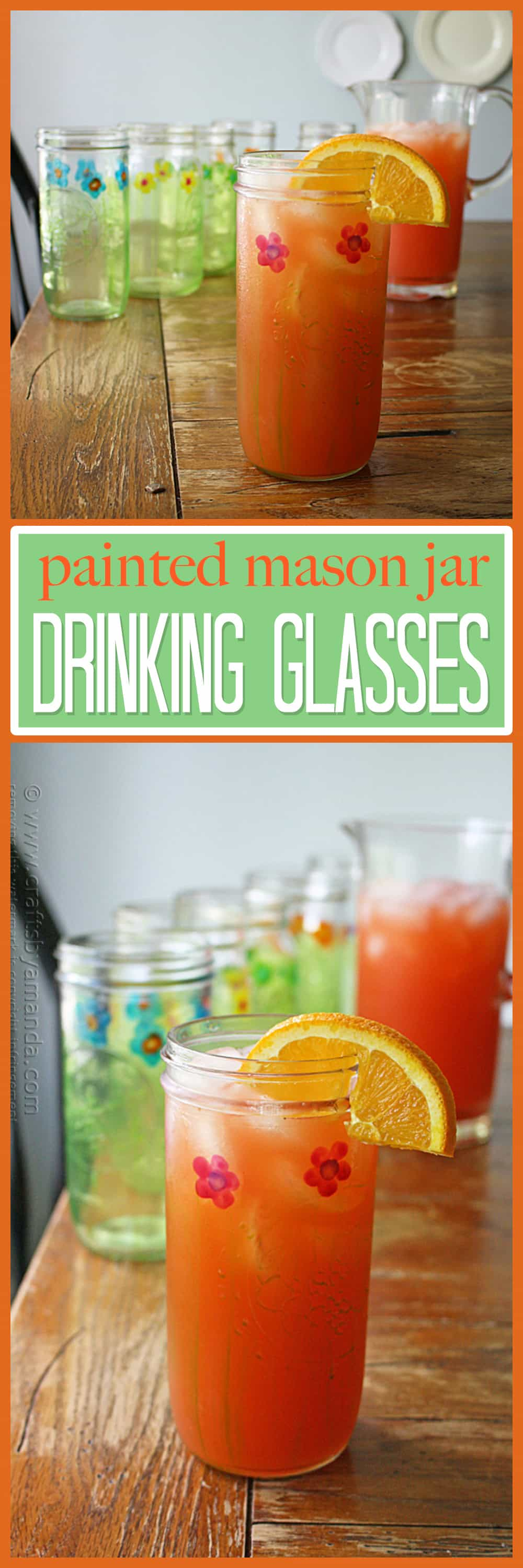 Make your own pretty painted mason jar glasses today!