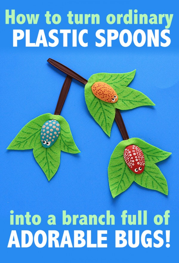 OH MY GOSH! I love this ADORABLE craft -- Plastic Spoon Craft: Bugs on a Branch by Amanda Formaro of Crafts by Amanda