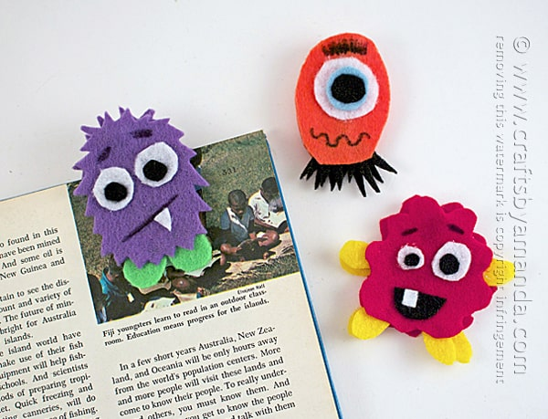 felt monster bookmarks