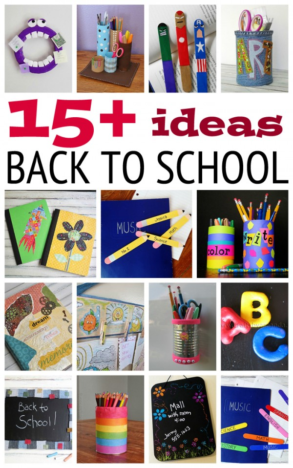 Collage of back to school ideas