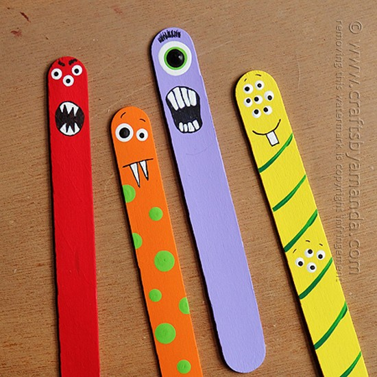 Make Adorable Craft Stick Monsters From Jumbo Sticks And Paint Perfect For Back To